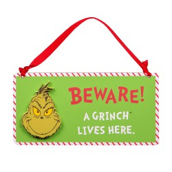 Beware A Grinch Lives Here - Wooden Sign