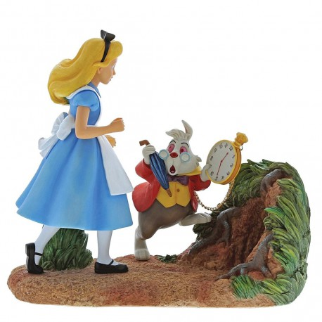 Enchanting Disney Mr Rabbit Wait-Alice in Wonderland Figurine, Resin, Colourful, 20 x 8.5 x 18.5 cm