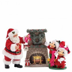 "Department 56 Possible Dreams Santas Mickey and Minnie's Wreath Figurine, 10.5"", Multicolor"