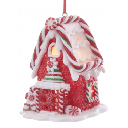 Kurt S. Adler Gingerbread LED Candy House Red