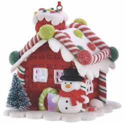 Kurt S. Adler Gingerbread LED Candy House Snowman