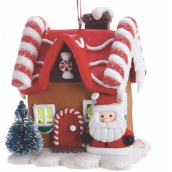 Kurt S. Adler Gingerbread LED Candy House Santa