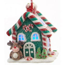 Kurt S. Adler Gingerbread LED Candy House Reindeer