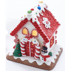 Kurt S. Adler Gingerbread House Snowman Led Battery Operated 5,5 Inch